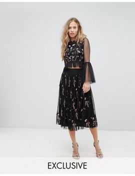 Lace & Beads Midi Skirt In 3 D Embellishment by Lace & Beads