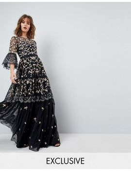 Needle & Thread Allover Embroidered And Embellished Maxi Gown With Fluted Sleeves by Needle & Thread
