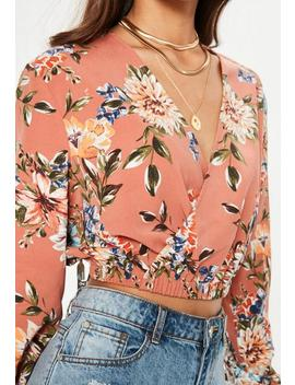 Nude Floral Collar Wrap Blouse by Missguided