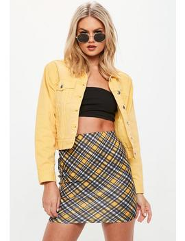 Black Check Print Scuba Mini Skirt by Missguided