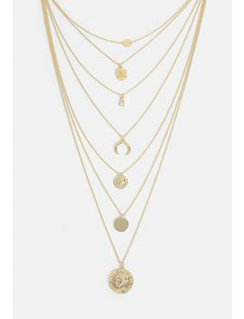 Gold Coin Multilayer Chain Necklace by Missguided