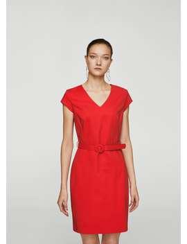 Βαμβακερό φόρεμα με ζώνη by Mango