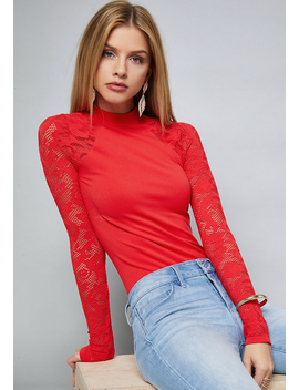 Lace Sleeve Bodysuit by Bebe