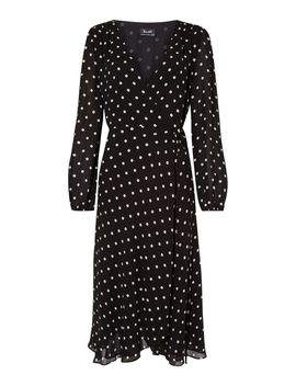 Long Sleeve Spotted Dress by Bardot