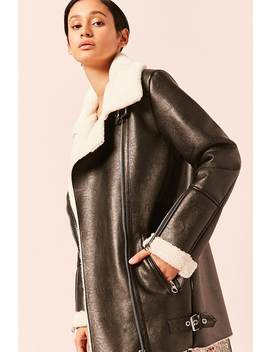 Free Generation Faux Leather & Shearling Jacket by F21 Contemporary