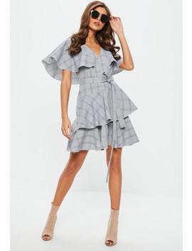 Gray Bardot Ruffle Tea Dress by Missguided
