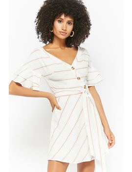 Striped Button Front Dress by Forever 21