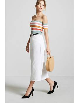 Stripe Off The Shoulder Crop Knit Top by F21 Contemporary