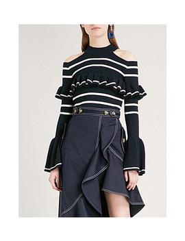 Cold Shoulder Frill Stripe Cotton Blend Sweater by Self Portrait