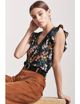 Floral V Neck Flounce Top by F21 Contemporary