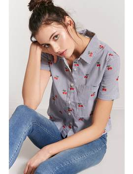 Pinstripe & Cherry Button Front Shirt by F21 Contemporary