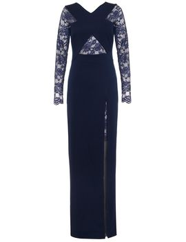 Navy Lace Detail Crossover Maxi Dress by Quiz