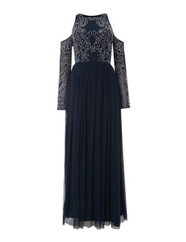 Maxi Dress With Cold Shoulder by Lace And Beads