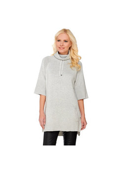 Isaac Mizrahi Live! Soho Funnel Neck Sweater Tunic W/ Rib Detail by Qvc
