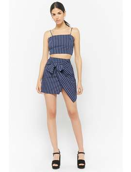 Striped Tie Front Skirt by F21 Contemporary