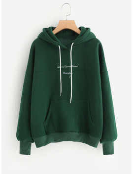 Contrast Slogan Embroidery Hoodie by Sheinside