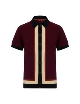 Mens Merc London Button Up Stripe Vintage Retro Polo Shirt Rainham   Wine by Undisclosed