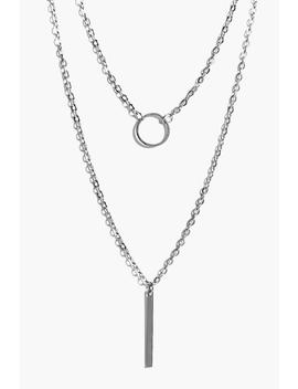 Olivia Circle & Bar Skinny Layered Necklace by Boohoo