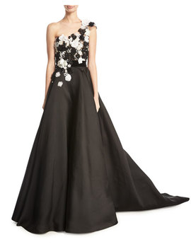 Floral Embellished One Shoulder Faille Ball Gown by Marchesa