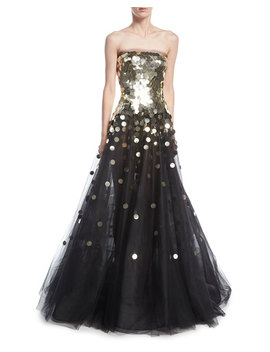 Strapless Sequined Tulle Ball Gown by Oscar De La Renta