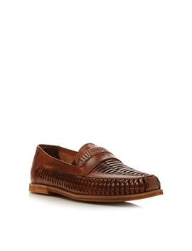 Bertie   Tan 'bryant Park' Leather Woven Moccasin by Bertie