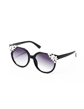 Crystal Embellished Oversized Cateye Sunglasses by Charlotte Russe