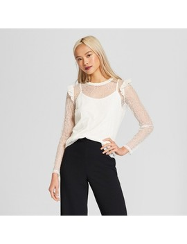 Women's Long Sleeve Rib Crew Lace Top   Who What Wear™ by Who What Wear