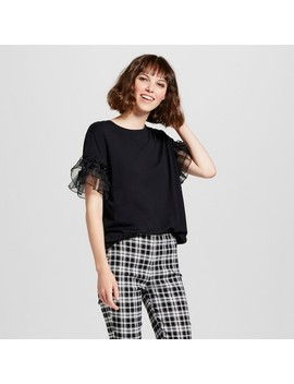 Women's Short Sleeve Ruffle Mix Crew T Shirt   Who What Wear™ by Who What Wear