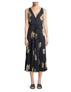 Gardenia Floral Print Twist Front Pleated Dress by Vince