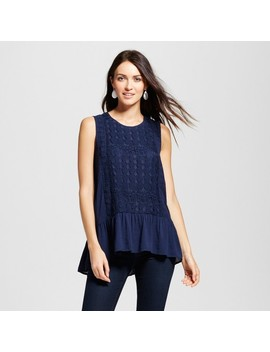 Women's Lace Front Peplum Tank   Knox Rose™ Navy by Knox Rose™
