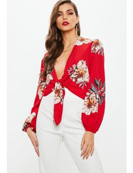 Petite Red Floral Print Tie Front Top by Missguided