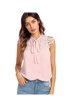 Shein Pink Guipure Lace Applique Tied Neck Bow Top Women Stand Collar Sleeveless Plain Blouse 2018 Summer Elegant Blouse by She In Official Store