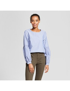 Women's Poet Sleeve Corset Back Top Long Sleeve Blouse  A New Day™ Blue by A New Day™