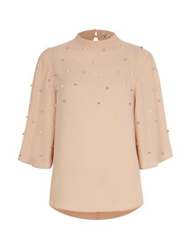 Light Pink Pearl Embellished High Neck Top                                  Light Pink Pearl Embellished High Neck Top by River Island