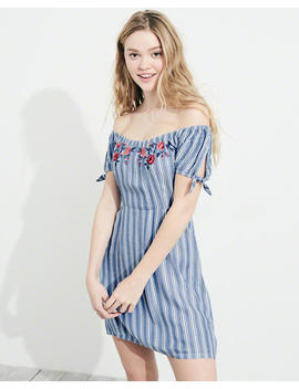 Embroidered On Or Off The Shoulder Dress by Hollister