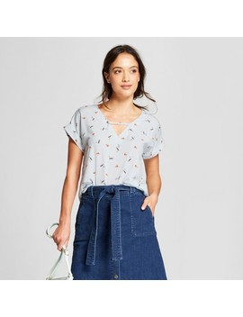 Women's Printed Short Sleeve Blouse   A New Day™ Light Blue by A New Day™