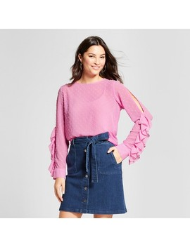 Women's Clip Spot Cold Shoulder Ruffle Long Sleeve Blouse   A New Day™ Purple by A New Day™