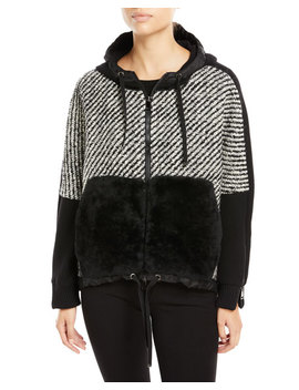 Maglia Fur Trim Tweed Sweatshirt by Moncler