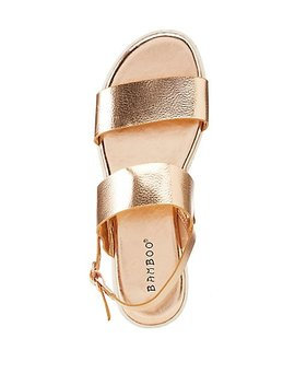Bamboo Metallic Faux Leather Two Piece Sandals by Charlotte Russe