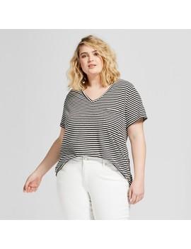 Women's Plus Size Monterey Pocket V Neck Stripe Short Sleeve T Shirt   Universal Thread™ Black/White Stripe by Universal Thread™