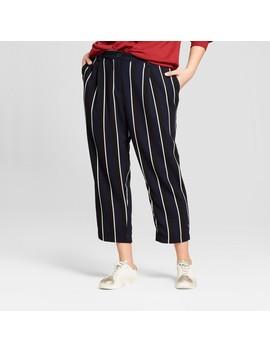 Women's Plus Size Stripe Crop Pants   Who What Wear ™ Blue by Who What Wear