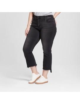 Women's Plus Size Raw Hem Kick Bootcut Crop Jeans   Universal Thread™ Black by Universal Thread™