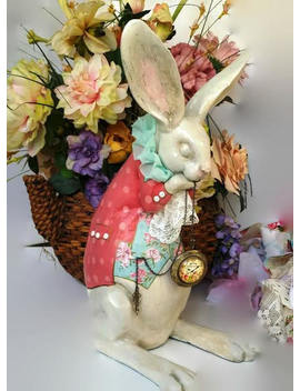 "White Rabbit Figurine  14"" Tall Alice In Wonderland Inspired For Collectors/Tea Parties/Wedding/Shower/Gifting Ready To Ship by Etsy"