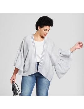 Women's Plus Size Woven Stripe Short Kimono   Universal Thread™ Blue by Universal Thread™