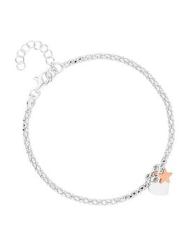 Simply Silver   Sterling Silver Heart Popcorn Bracelet by Simply Silver