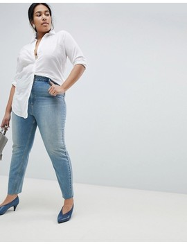 Asos Curve Farleigh High Waist Straight Leg Jeans In Dusty Mid Wash With Raw Hem by Asos Curve
