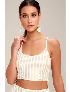 Destination Tan Striped Crop Top by Lulus