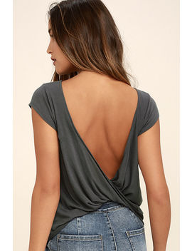 Rvca Label Cowl Back Grey Tee by Rvca