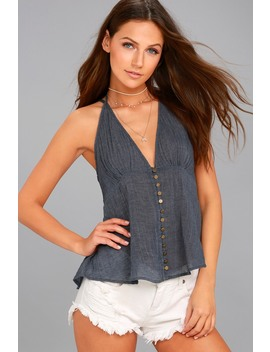 Catamaran Denim Blue Tank Top by Lulus