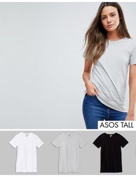Asos Tall Ultimate T Shirt With Crew Neck 3 Pack Save 15 Percents by Asos Tall